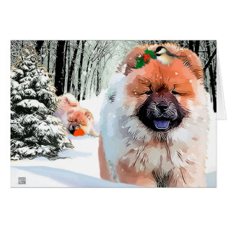 A SNOW DAY Chow holiday card CUSTOMIZE