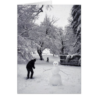 A Snowball Fight In Central Park Card