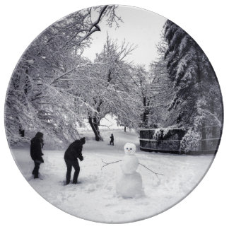 A Snowball Fight In Central Park Porcelain Plate