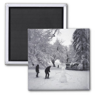 A Snowball Fight In Central Park Square Magnet