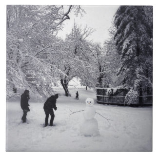 A Snowball Fight In Central Park Tile