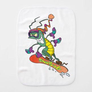 A snowboarding bug burp cloth