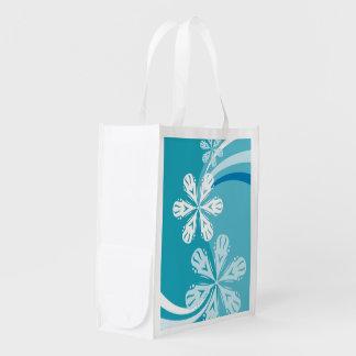 A Snowflake Storm Reusable Grocery Bag