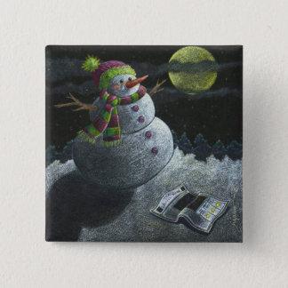 A Snowman Tear 2 Inch Square Button
