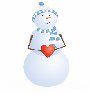 A Snowman With Heart Standing Photo Sculpture