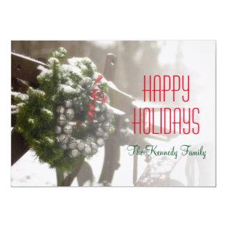 "A snowy Christmas wreath sits outside 5"" X 7"" Invitation Card"