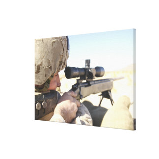 A soldier aims in with his M40A3 Canvas Print