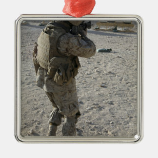 A soldier engages his target on a shooting rang Silver-Colored square ornament