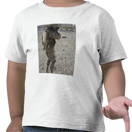 A soldier engages his target on a shooting rang t shirt