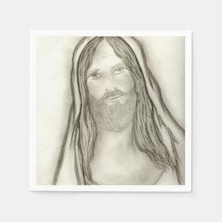 A Solemn Jesus Paper Napkin