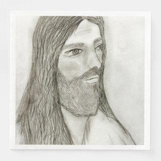 A Solemn Jesus Paper Napkins