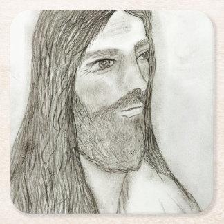 A Solemn Jesus Square Paper Coaster