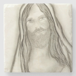 A Solemn Jesus Stone Coaster