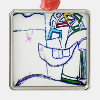A Songbirds Morphetic Silver-Colored Square Ornament