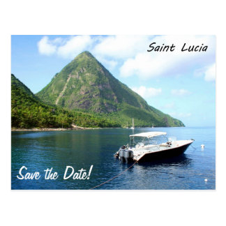 A speedboat in front of the Pitons in Saint Lucia Postcard