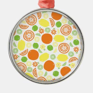 A Splash of Citrus Silver-Colored Round Ornament