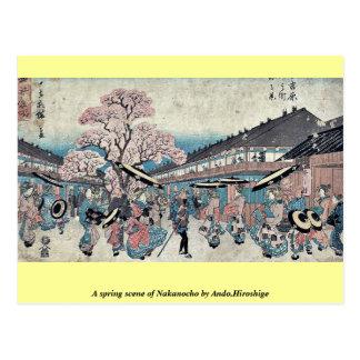 A spring scene of Nakanocho by Ando,Hiroshige Postcard