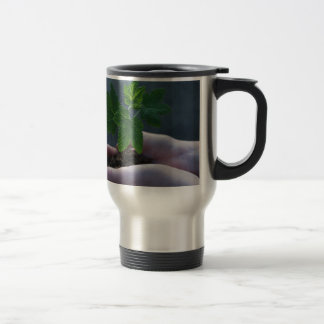 A sprout on a hand travel mug