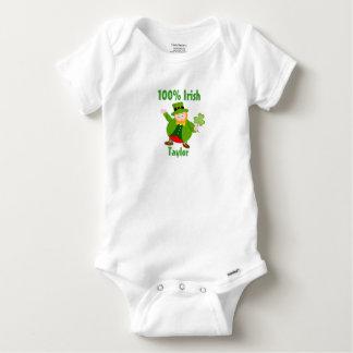 A St. Patrick's Day leprechaun holding a shamrock, Baby Onesie