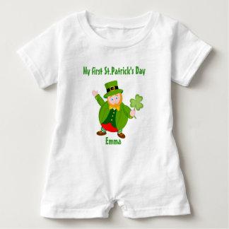 A St. Patrick's Day leprechaun holding a shamrock, Baby Romper