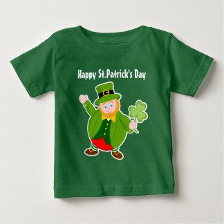 A St. Patrick's Day leprechaun holding a shamrock, Baby T-Shirt