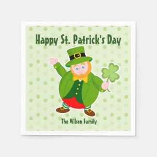 A St. Patrick's Day leprechaun holding a shamrock, Paper Napkin