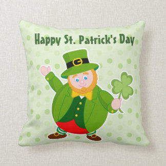A St. Patrick's Day leprechaun holding a shamrock, Throw Pillow