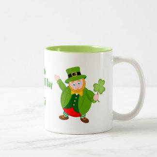 A St. Patrick's Day leprechaun holding a shamrock, Two-Tone Coffee Mug