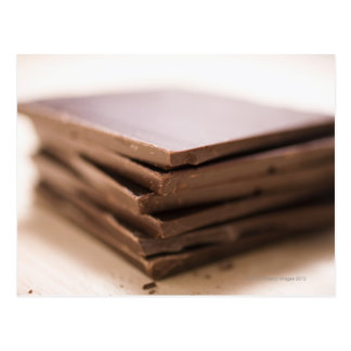 A stack of baker's chocolate ready to be chopped postcard