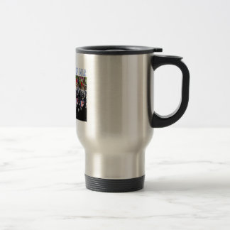 A stainless steel travel mug