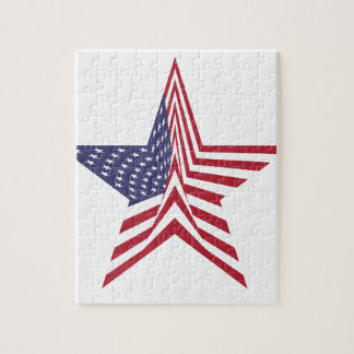 A Star With An American Flag Pattern Jigsaw Puzzle
