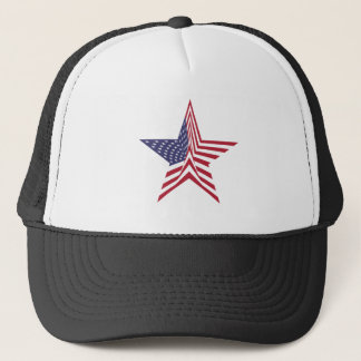 A Star With An American Flag Pattern Trucker Hat