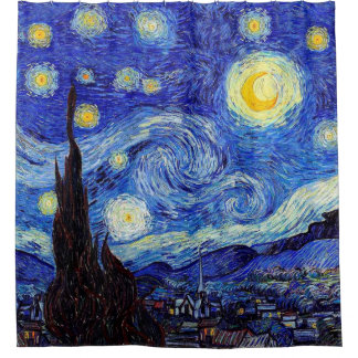 A Starry Night  Van Gogh Inspired Shower Curtain