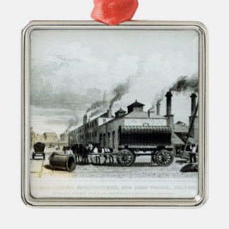 A Steam-Engine Manufactory and Iron Works Silver-Colored Square Ornament