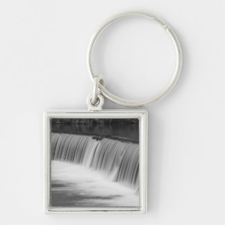 A Step Down Grayscale Silver-Colored Square Keychain