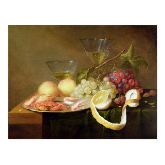 A still life with glasses postcard