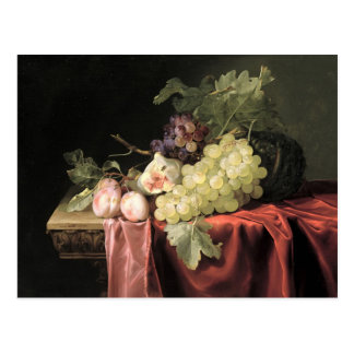A still life with grapes, plums postcard