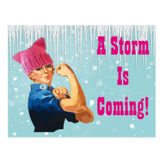 """A Storm is Coming"" With Rosie in Pink Hat Postcard"