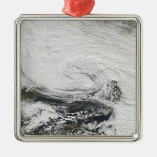 A storm over the Black Sea and the Sea of Azov Silver-Colored Square Ornament