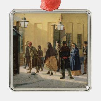 A street scene, outside a prison, 1868 Silver-Colored square ornament