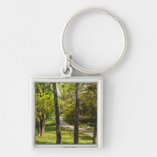 A Stroll in the Park Silver-Colored Square Keychain