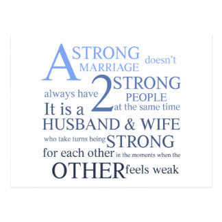 A Strong Marriage Text Design Postcard