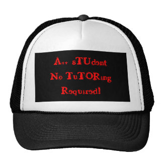 A++ Student No Tutoring Required Black & Red Hat Mesh Hat