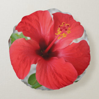 A Stunning Scarlet Hibiscus Tropical Flower Round Pillow