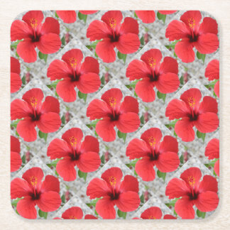 A Stunning Scarlet Hibiscus Tropical Flower Square Paper Coaster