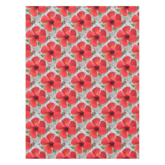 A Stunning Scarlet Hibiscus Tropical Flower Tablecloth