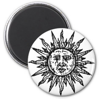 A stylized Black and White Sun sign Magnet