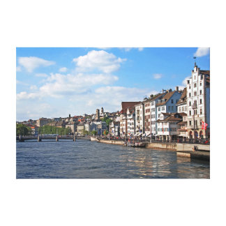 A sunny day on the embankment of the Limmat river. Canvas Print