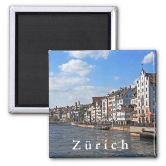 A sunny day on the embankment of the Limmat river. Magnet
