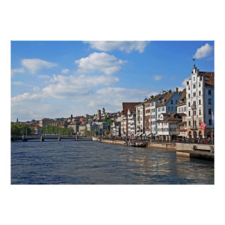 A sunny day on the embankment of the Limmat river Poster